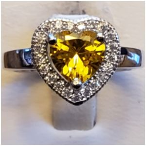 3.5ct Yellow Canary Sapphire Heart Ring Size 6